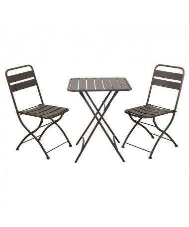 Tavolo metallo ROVIGO con 2 sedie antracite