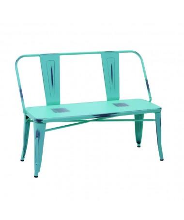 Panca ferro BRISTOL azzurro antico con schienale