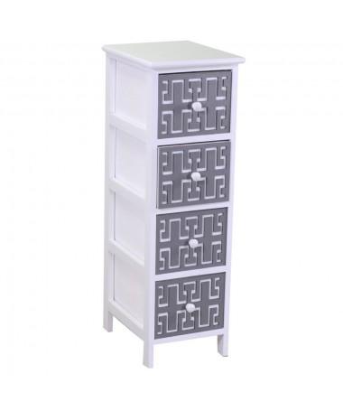 Mobiletto GIANNA bianco grigio 4 cassetti