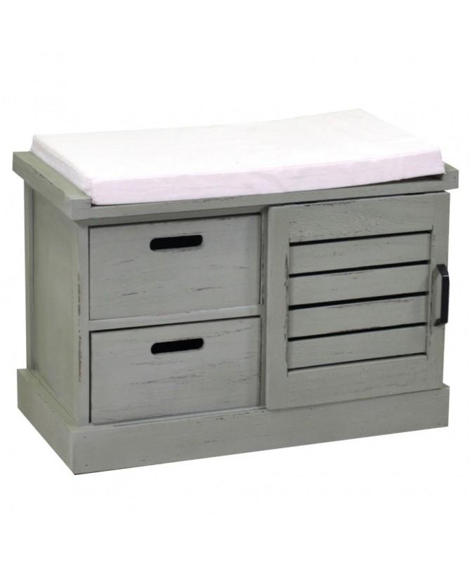 Panca legno 1 vano + 2 cassetti con cuscino verde
