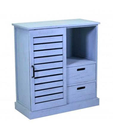 Mobiletto PERSIANA legno 3 vani + 2 cassetti blu