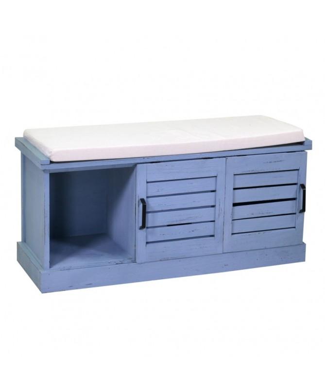Panca legno 2 vani + 2 cassetti con cuscino blu