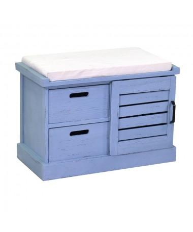 Panca legno 1 vani + 2 cassetti con cuscino blu