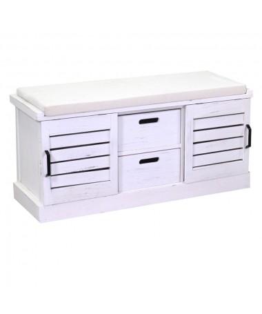 Panca Pouf legno 2 vani + 2 cassetti con cuscino bianco