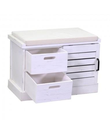 Panca puof legno 1 vano + 2 cassetti con cuscino bianco