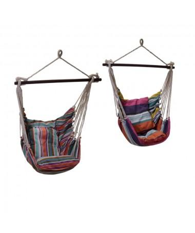 Sedia dondolo tessuto con cuscini 2 assortiti