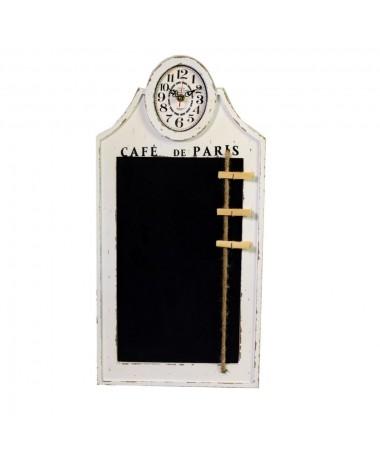 Orologio legno bianco con lavagna PARIS