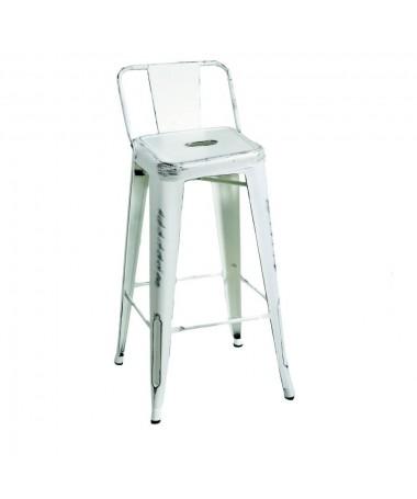Sgabello ferro BRISTOL bianco basso con schienale
