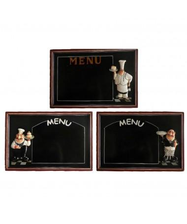 Lavagna legno cuoco menu' rettangolare 3 assortiti