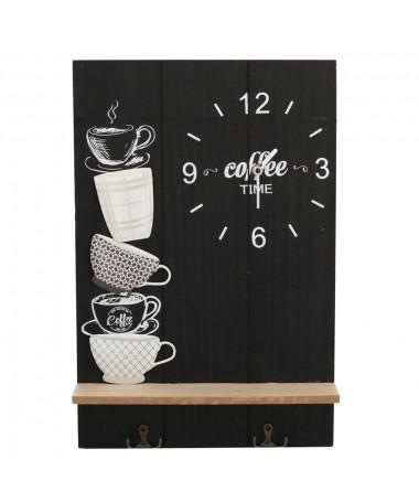 Orologio legno nero coffee con mensola