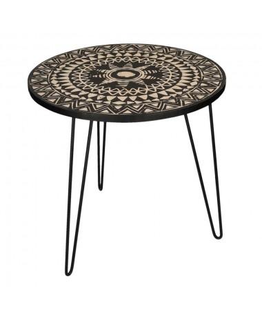 Tavolino legno maori tondo
