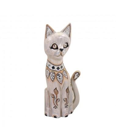 Gatto legno decori bianco grigio
