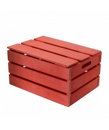 Scatola legno rosso rettangolare pieghevole cm38x28h19,5
