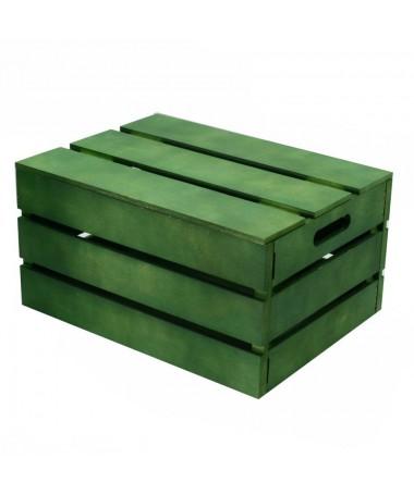 Scatola legno verde rettangolare