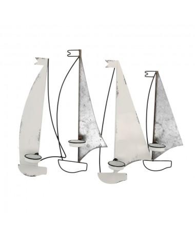 Portacandele mare metallo bianco grigio barche