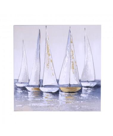 Quadro dipinto mare grigio oro
