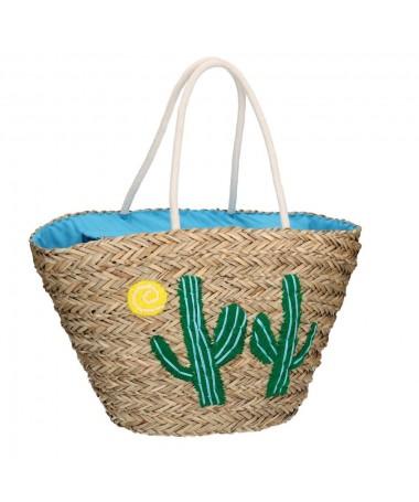 Borsa paglia con cactus
