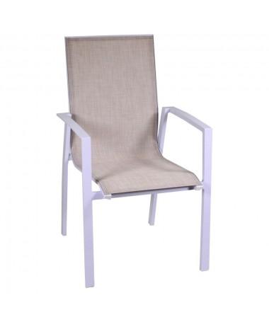 Poltrona alluminio e textilene cleveland bianco lucido