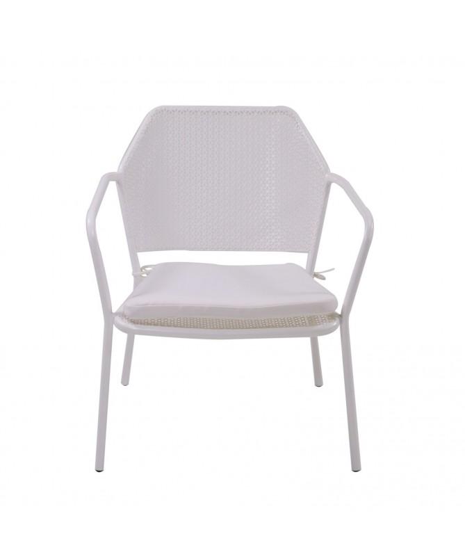 Poltrona metallo austin bianco con cuscino bianco