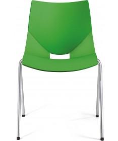 SET 4 SEDIE SORA in plastica verde con struttura in metallo finitura alluminio MADE IN ITALY