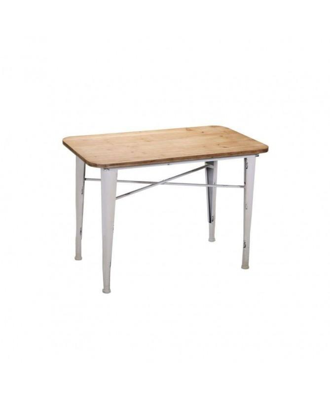 Tavolo in metallo con top in legno Edimburgo rettangolare