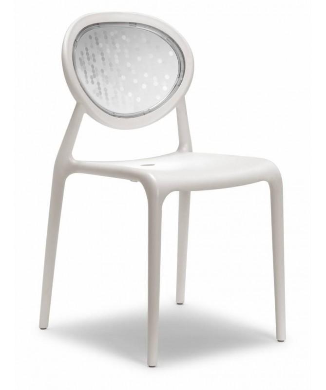 Sedia in tecnopolimero con schienale in policarbonato Super Gio Made in Italy - set da 6