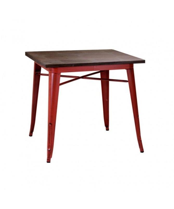 Tavolo in ferro Bristol quadrato - rosso