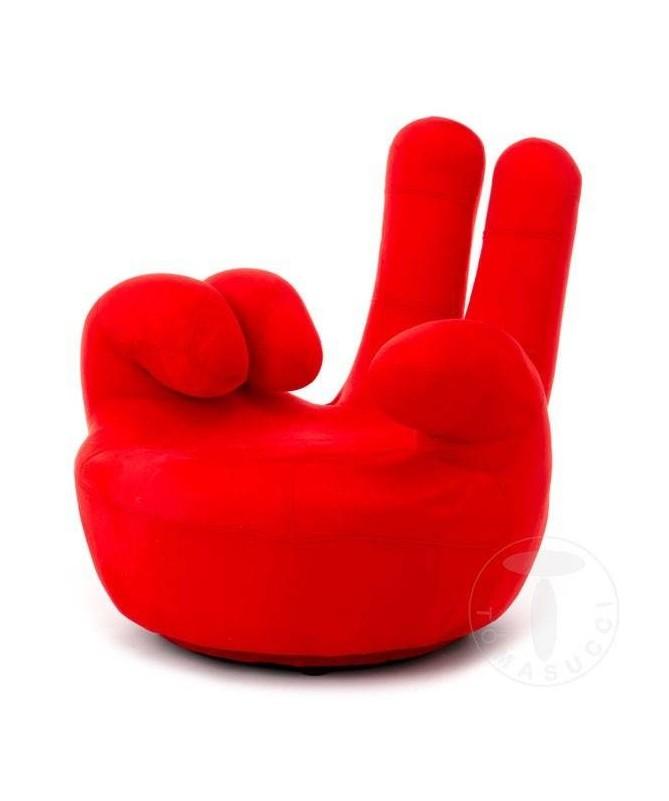 Poltrona girevole Victory a forma di mano - rosso
