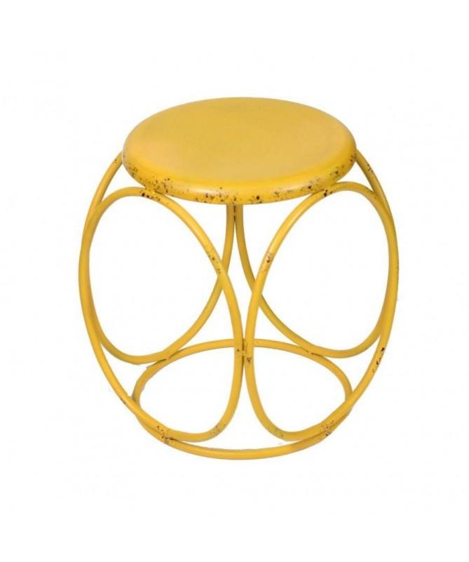 Sgabello in metallo tondo - giallo
