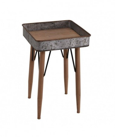 Tavolino quadrato con vassoio in metallo