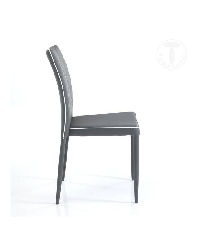 Sedia in similpelle Adele - set da 4 grigio