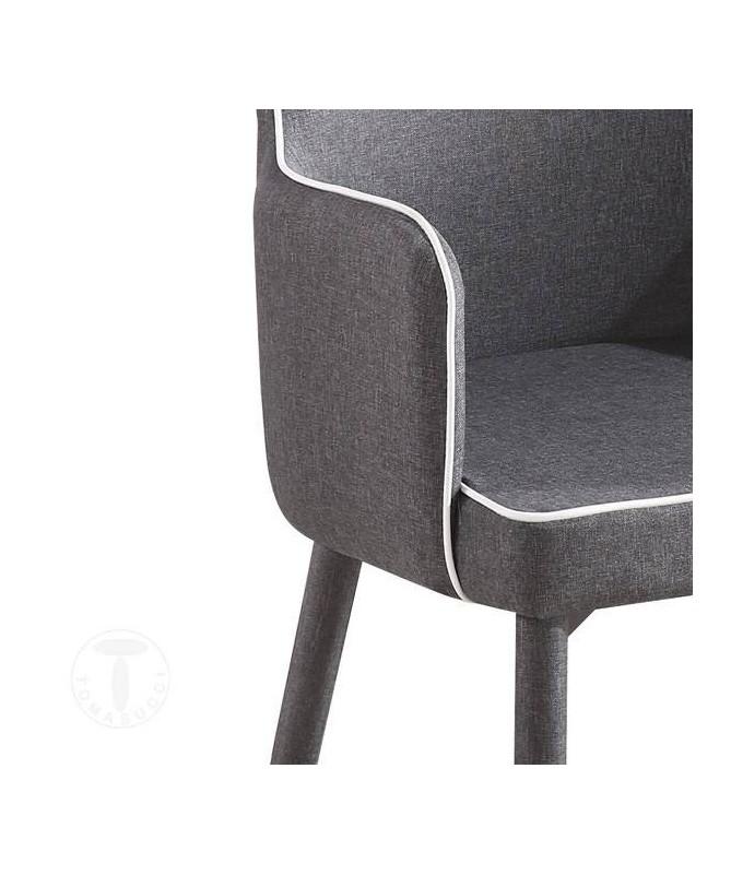 Sedia imbottita con braccioli Ketty Comfort in tessuto - set da 4 grigio