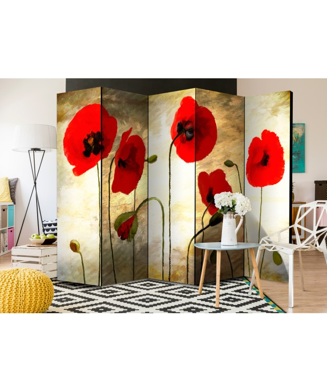 Paravento - Golden Field of Poppies II [Room Dividers]