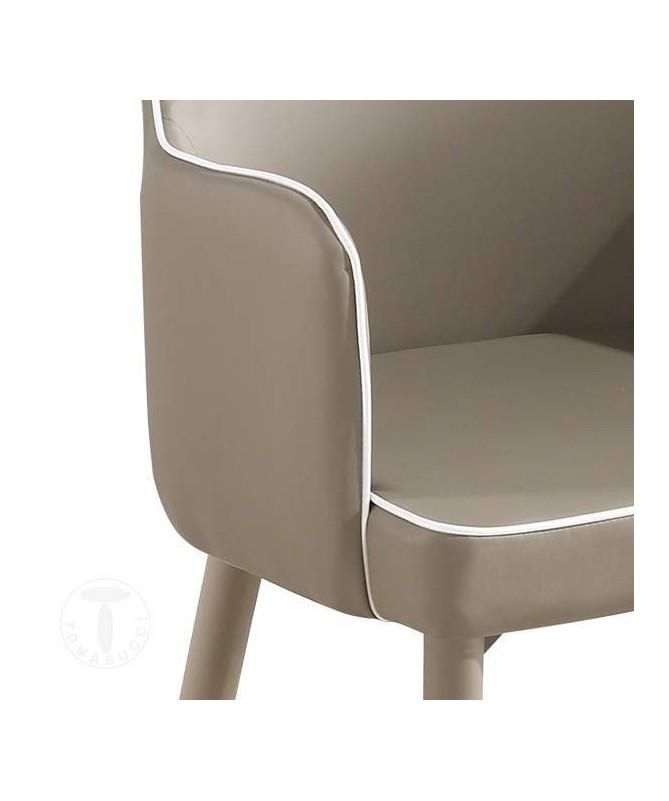 Sedia imbottita con braccioli Ketty Comfort in similpelle - set da 4 tortora