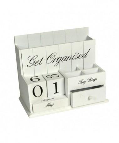 Calendario portatutto in legno - bianco