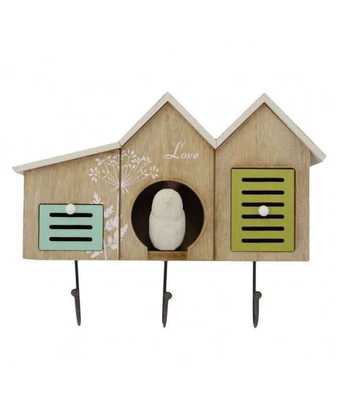 Appendino in legno con 3 posti e 2 cassetti