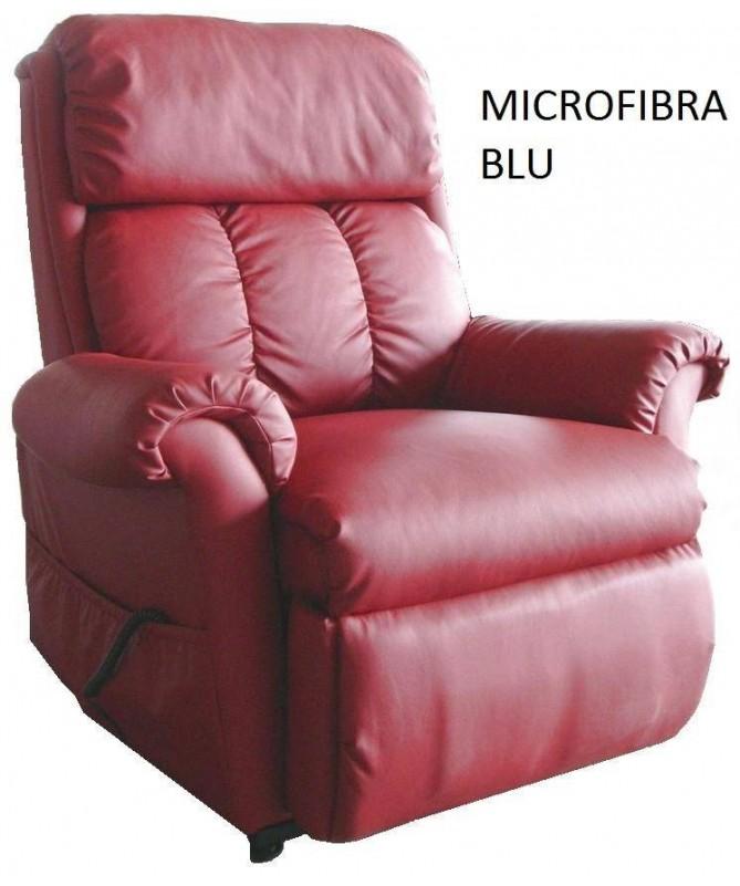 POLTRONA NADIA MICROFIBRA BLU MASSAGGIANTE CON FUNZIONE DI ALZATA IN PIEDI ELETTRICA