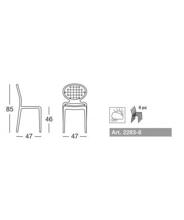 Sedia in tecnopolimero rinforzato Colette Made in Italy