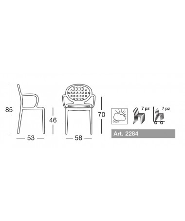 Sedia con braccioli set da 4 in tecnopolimero rinforzato Colette Made in Italy