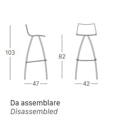 SGABELLI DAY SET DA 2 H. 82 con sedile in TECNOPOLIMERO MADE IN ITALY