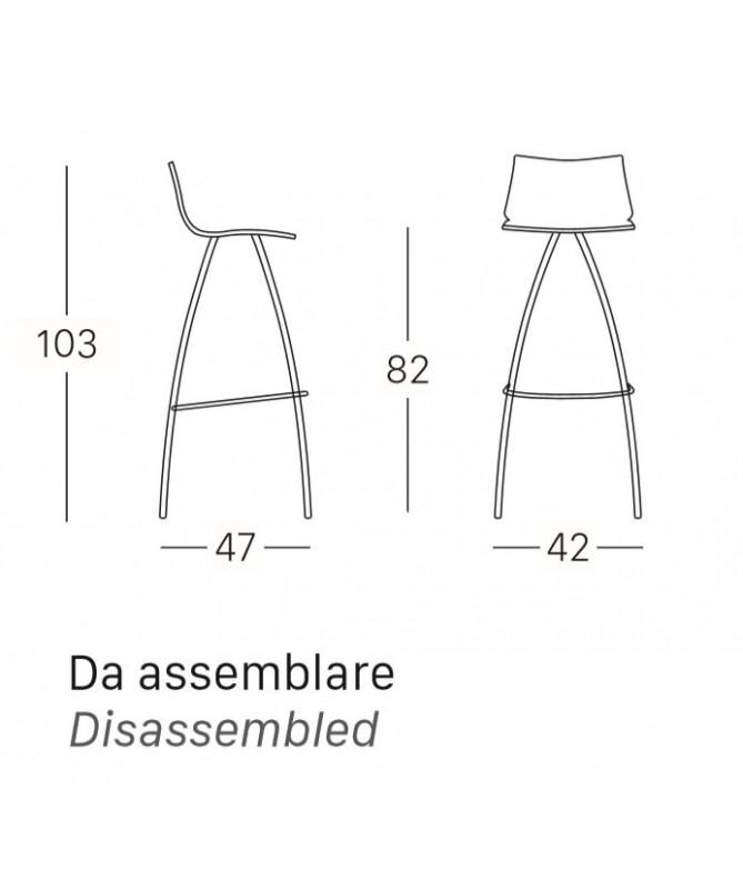 SGABELLI DAY H. 82 con sedile in TECNOPOLIMERO MADE IN ITALY