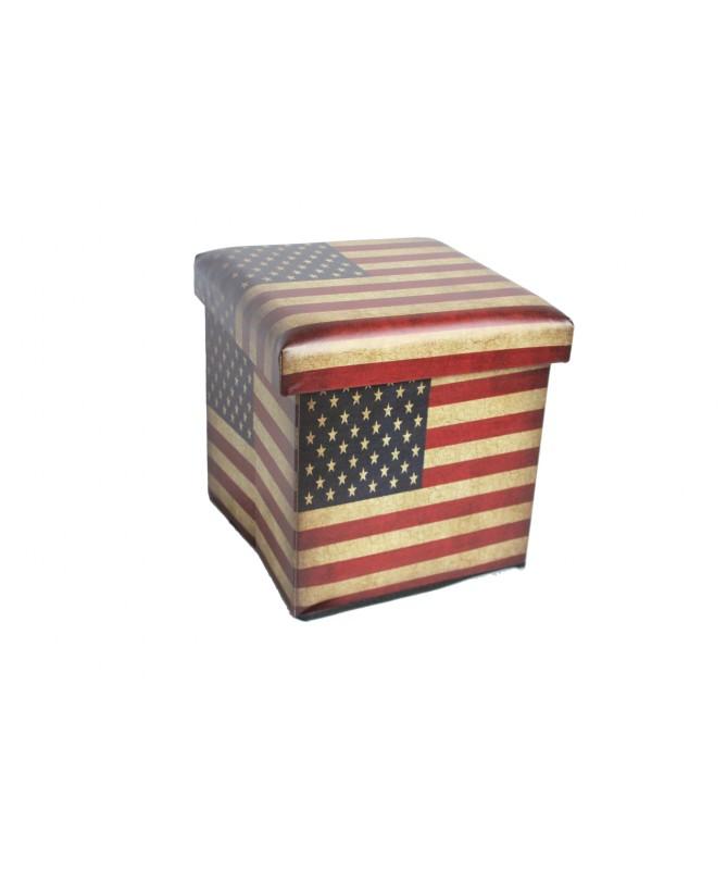 PUOF CONTENITORE PIEGHEVOLE IN PU US FLAG