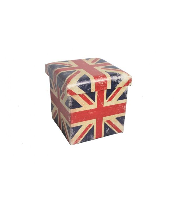 PUOF CONTENITORE PIEGHEVOLE IN PU UK FLAG