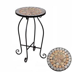 Set 2 colonnine in metallo Urbino con mosaico
