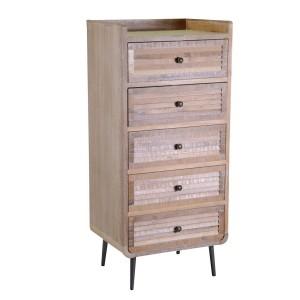 Mobile Lione legno 5 cassetti naturale