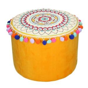 Puff tessuto giallo arancione con pompon tondo