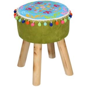 Puff tessuto verde con gambe legno e pompon tondo