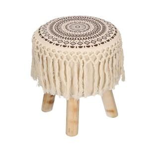Puff tessuto crema con gambe legno e frange tondo