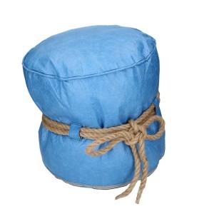 Puff cellulosa azzurro con corda tondo
