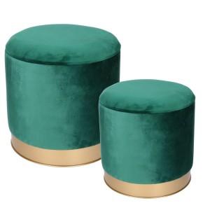 Puff metallo tessuto 1-2 verde tondo